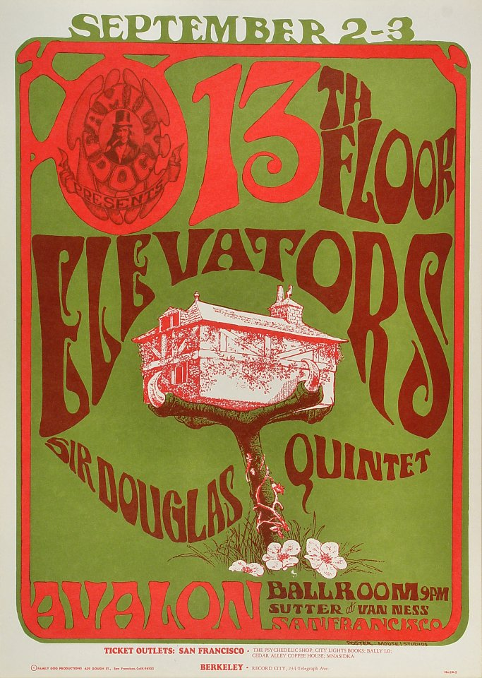 13th floor elevators poster avalon ballroom san francisco for 13 th floor elevators