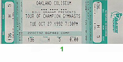 1992 Tour of Gymnastic Champions 1990s Ticket
