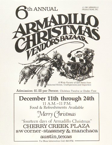 6th Annual Armadillo Christmas Vendors Bazaar Handbill