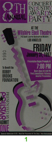 8th Annual Concert Industry Awards Party1990s Ticket