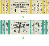 A Night in the '60s 1980s Ticket