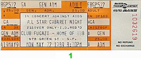 All Star Cabaret Night Vintage Ticket