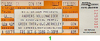 Andreas Vollenweider1980s Ticket