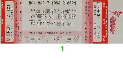 Andreas Vollenweider 1990s Ticket