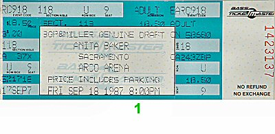 Anita Baker 1980s Ticket