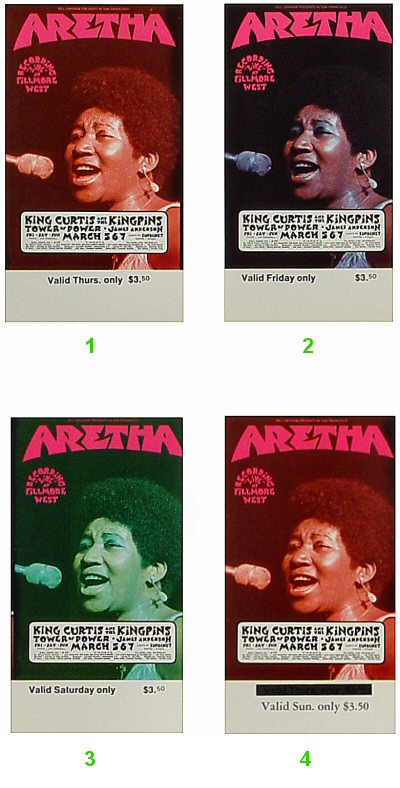 Aretha Franklin 1970s Ticket