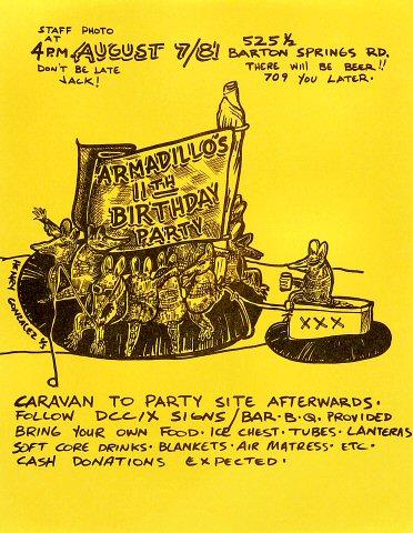 Armadillo's 11th Birthday Party Handbill
