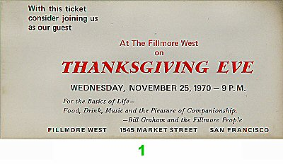 At The Fillmore West on Thanksgiving Eve 1970s Ticket
