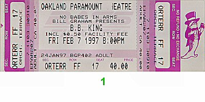 B.B. King 1990s Ticket
