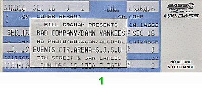 Bad Company 1990s Ticket