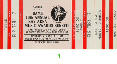 Bay Area Music Awards 1980s Ticket