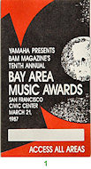 Bay Area Music Awards Laminate