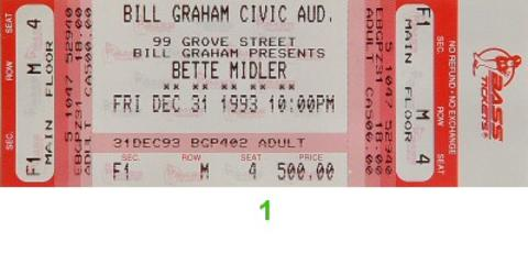 Bette Midler Vintage Ticket
