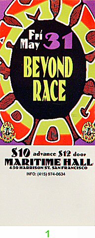 Beyond Race 1990s Ticket