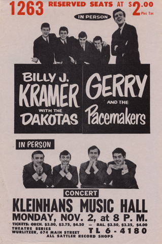 Billy J. Kramer with the Dakotas Handbill
