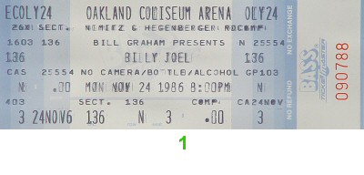 Billy Joel 1980s Ticket