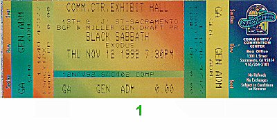 Black Sabbath 1990s Ticket