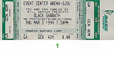 Black Sabbath1990s Ticket