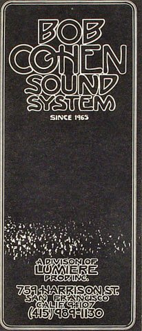 Bob Cohen Sound System Program