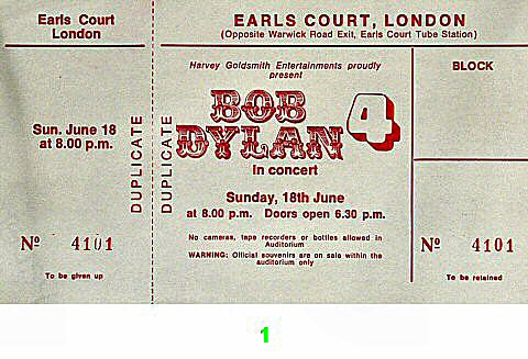 Bob Dylan 1970s Ticket