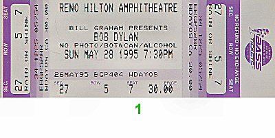 Bob Dylan 1990s Ticket