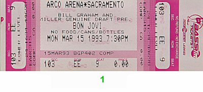 Bon Jovi 1990s Ticket