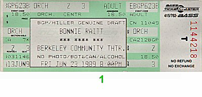 Bonnie Raitt1980s Ticket