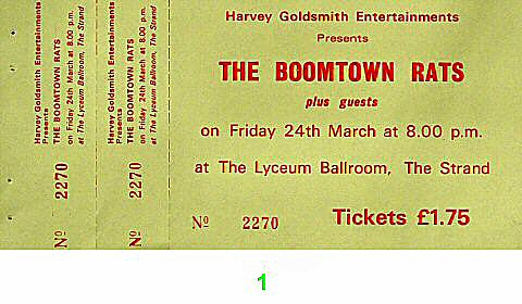 Boomtown Rats1970s Ticket