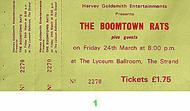 Boomtown Rats 1970s Ticket