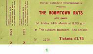 Boomtown Rats Vintage Ticket