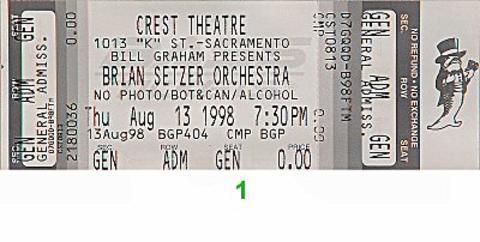 Brian Setzer Orchestra Vintage Ticket