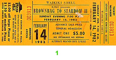 Brownbags to Stardom II 1980s Ticket