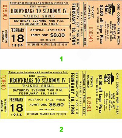 Brownbags to Stardom IV 1980s Ticket