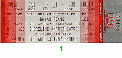 Bryan Adams 1980s Ticket
