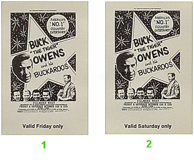 Buck Owens and the Buckaroos 1960s Ticket
