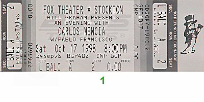 Carlos Mencia 1990s Ticket