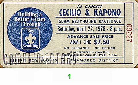 Cecilio and Kapono Vintage Ticket