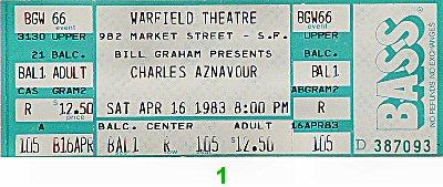 Charles Aznavour1980s Ticket