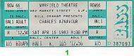 Charles Aznavour 1980s Ticket