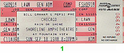 Chicago 1980s Ticket