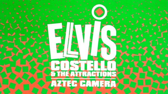 Elvis Costello & the Attractions concert at Merriweather Post Pavilion on Aug 10, 1984
