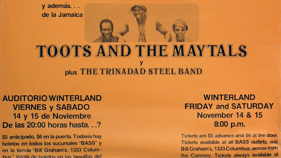 Toots & the Maytals concert at Winterland on Nov 15, 1975