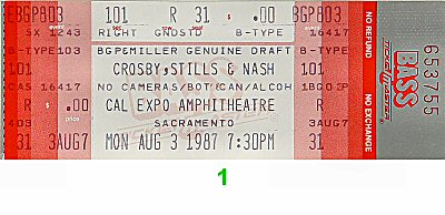 Crosby, Stills & Nash 1980s Ticket