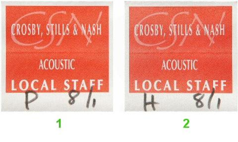 Crosby, Stills &amp; Nash Backstage Pass
