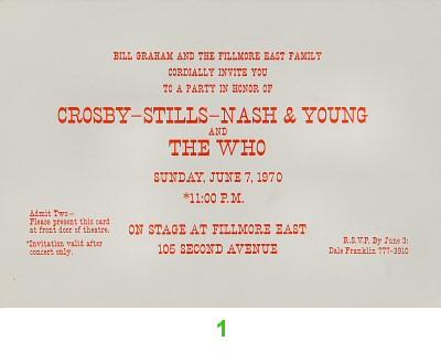 Crosby, Stills, Nash & Young1970s Ticket