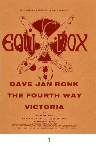 Dave Van Ronk 1970s Ticket