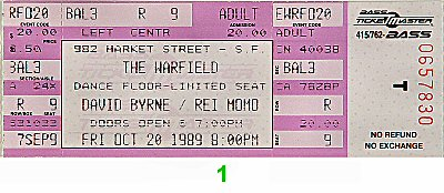 David Byrne1980s Ticket