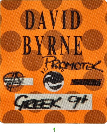 David ByrneBackstage Pass