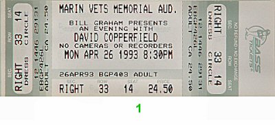 David Copperfield 1990s Ticket