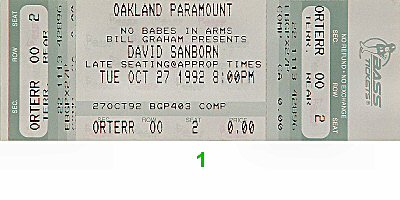 David Sanborn Group 1990s Ticket